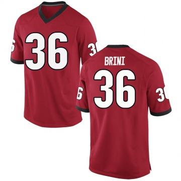 Men's Latavious Brini Georgia Bulldogs Nike Replica Red Football College Jersey