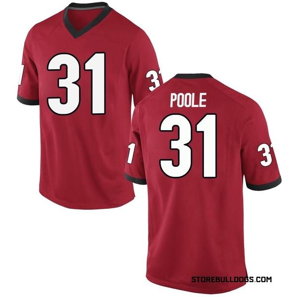 Men's William Poole Georgia Bulldogs Nike Game Red Football College Jersey