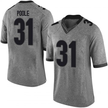 Men's William Poole Georgia Bulldogs Nike Limited Gray Football College Jersey