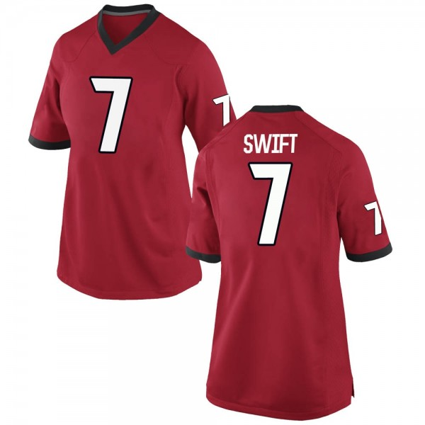Women's D'Andre Swift Georgia Bulldogs Nike Replica Red Football College Jersey